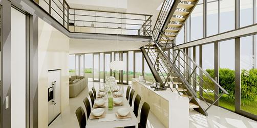 Ảnh nội thất phòng ăn hiện đại giữa thế kỷ.